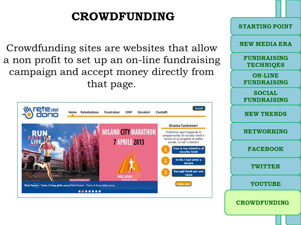 CROWDFUNDING Crowdfunding sites are websites that allow a non profit to set up an on-line fundraising campaign and accept money directly from that page.