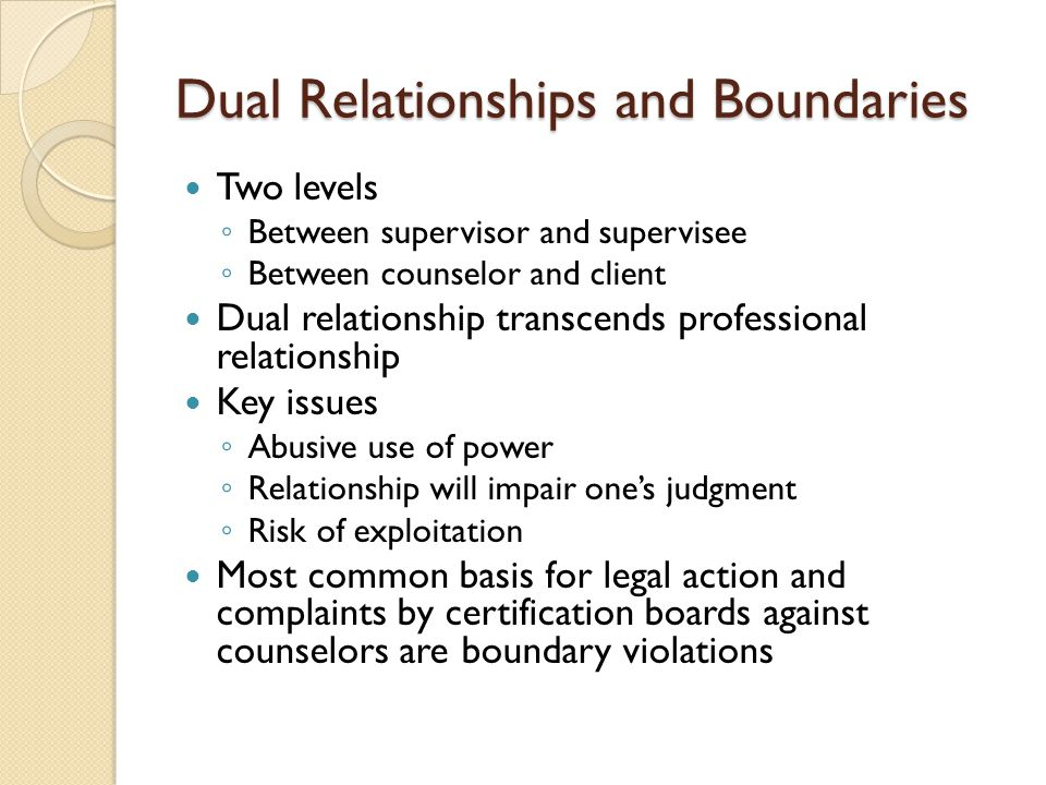 Dual Relationships and Boundaries Two levels ◦ Between supervisor and supervisee ◦ Between counselor and client Dual relationship transcends professional relationship Key issues ◦ Abusive use of power ◦ Relationship will impair one's judgment ◦ Risk of exploitation Most common basis for legal action and complaints by certification boards against counselors are boundary violations