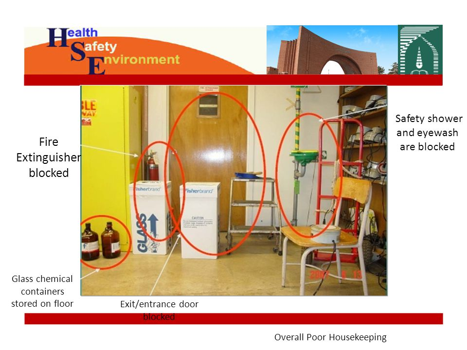 Fire Extinguisher blocked Safety shower and eyewash are blocked Glass chemical containers stored on floor Exit/entrance door blocked Overall Poor Housekeeping