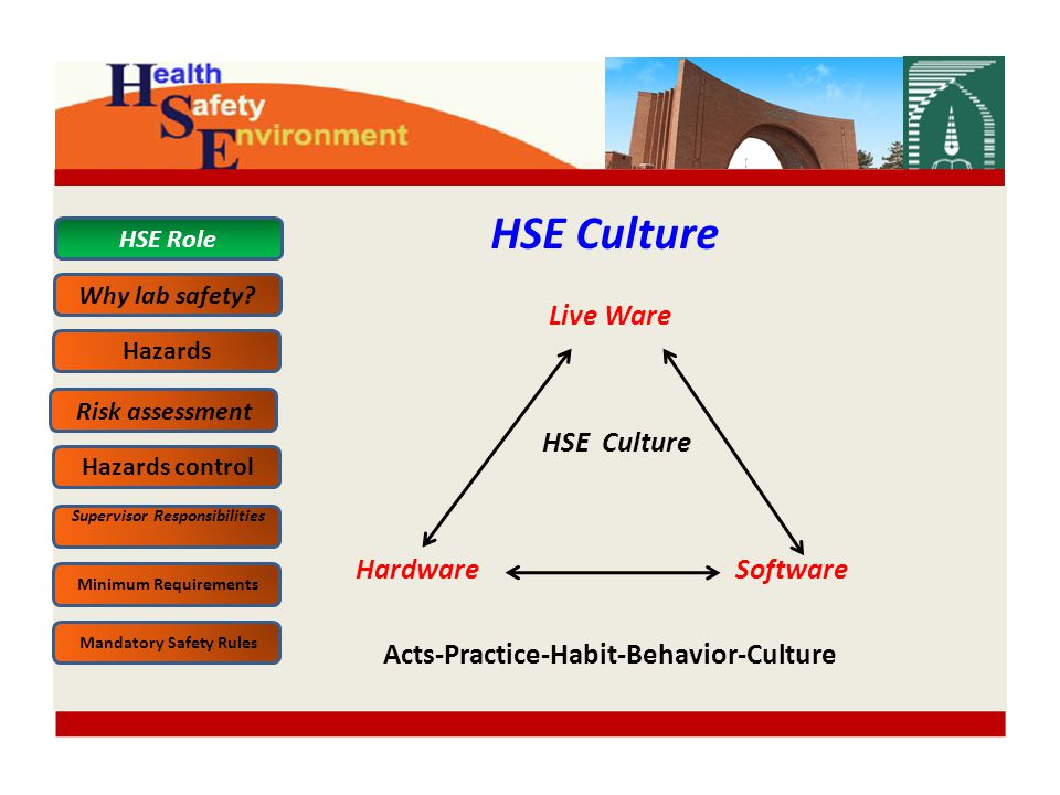 Live Ware HSE Culture Hardware Software Acts-Practice-Habit-Behavior-Culture HSE Culture HSE Role Why lab safety.