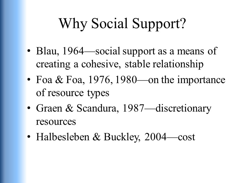 Why Social Support.