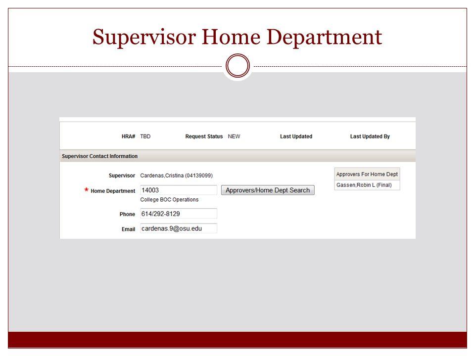 Supervisor Home Department