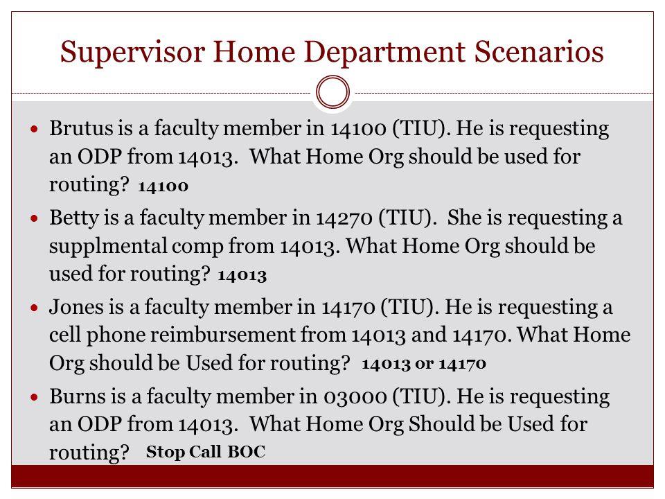 Supervisor Home Department Scenarios Brutus is a faculty member in 14100 (TIU).