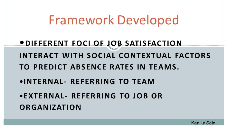 DIFFERENT FOCI OF JOB SATISFACTION INTERACT WITH SOCIAL CONTEXTUAL FACTORS TO PREDICT ABSENCE RATES IN TEAMS.