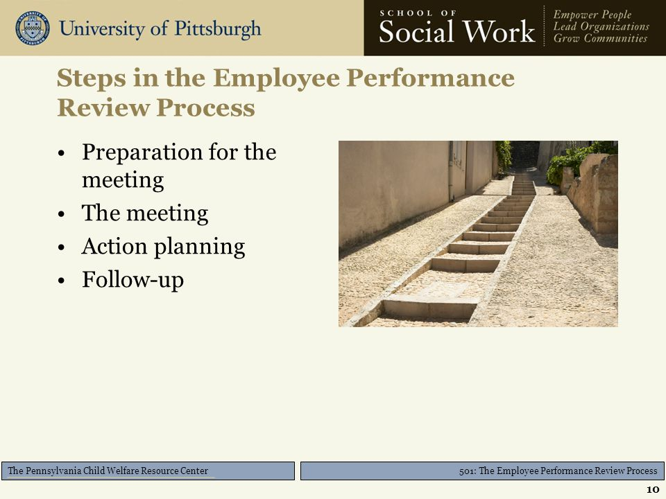 501: The Employee Performance Review Process The Pennsylvania Child Welfare Resource Center Steps in the Employee Performance Review Process Preparation for the meeting The meeting Action planning Follow-up 10