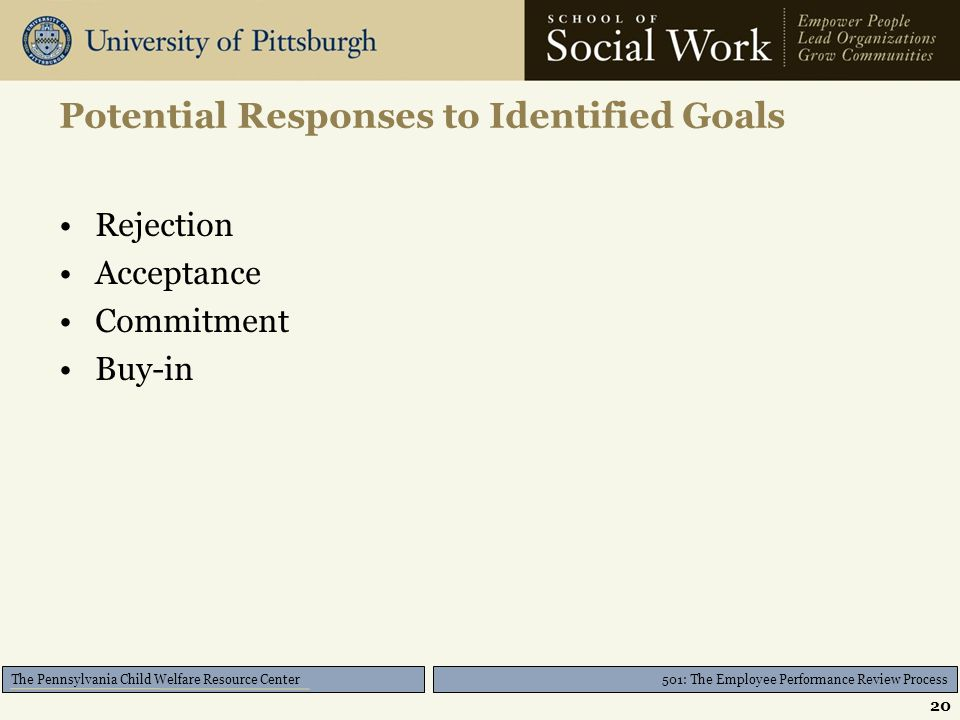 501: The Employee Performance Review Process The Pennsylvania Child Welfare Resource Center Potential Responses to Identified Goals Rejection Acceptan