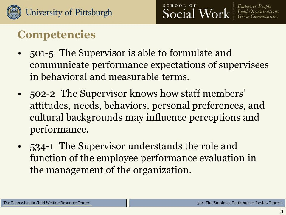 501: The Employee Performance Review Process The Pennsylvania Child Welfare Resource Center Competencies The Supervisor is able to formulate and communicate performance expectations of supervisees in behavioral and measurable terms.