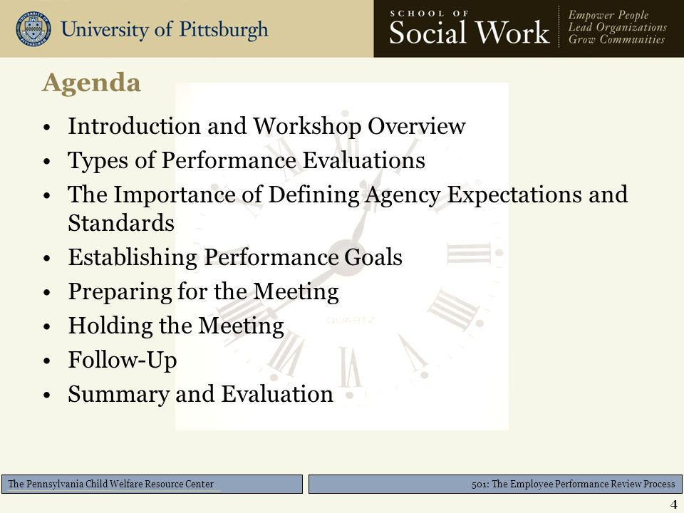 501: The Employee Performance Review Process The Pennsylvania Child Welfare Resource Center Agenda Introduction and Workshop Overview Types of Perform
