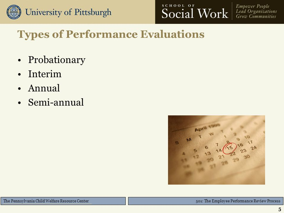 501: The Employee Performance Review Process The Pennsylvania Child Welfare Resource Center Agency Expectations Mission Vision Values –Performance –Core Goals and Objectives 6