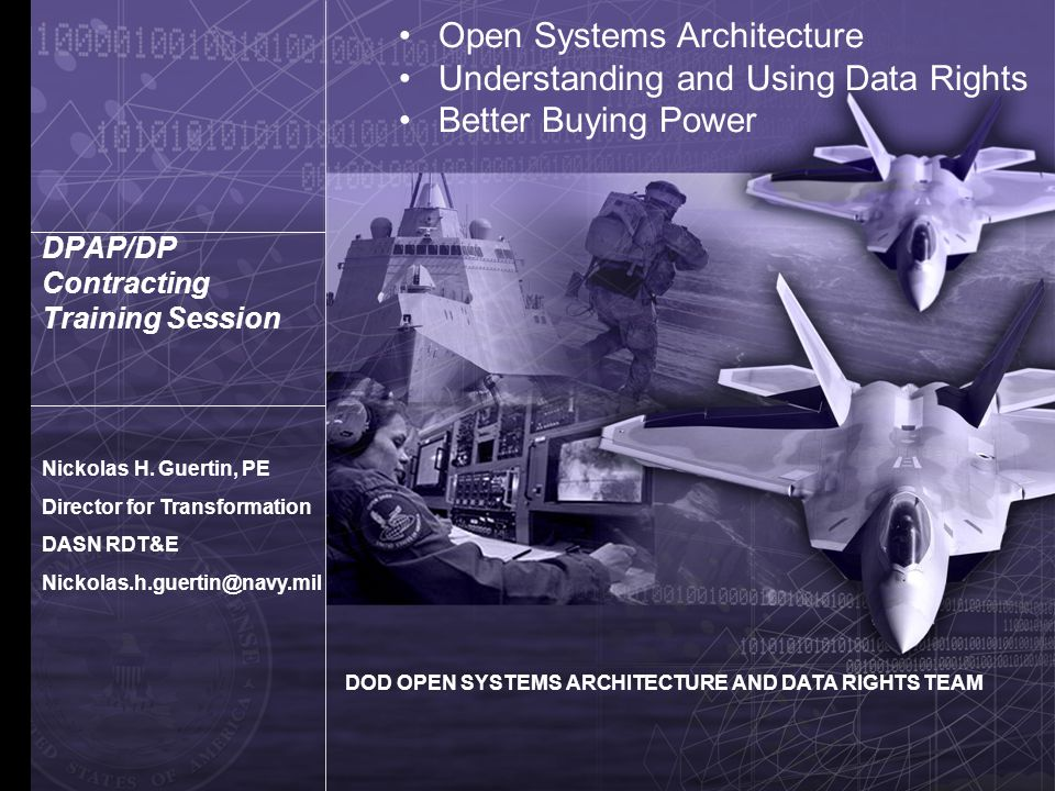 Crafting a Market Place Maturing the Defense Contracting Environment Defining Our Future Risk-prudent competition Business Architectures that mirror Technical Architectures Constant battle rhythm of competition Level playing field Wider access to innovation How do we establish real acquisition choice.