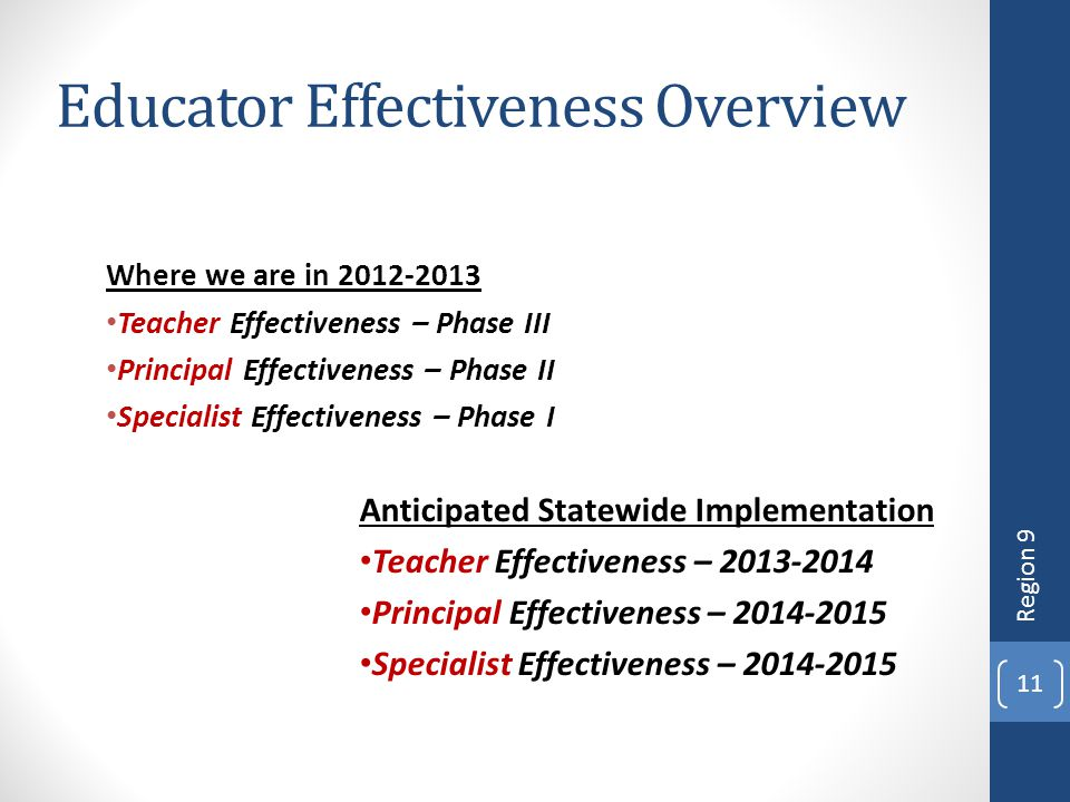 Educator Effectiveness Overview Where we are in 2012-2013 Teacher Effectiveness – Phase III Principal Effectiveness – Phase II Specialist Effectivenes