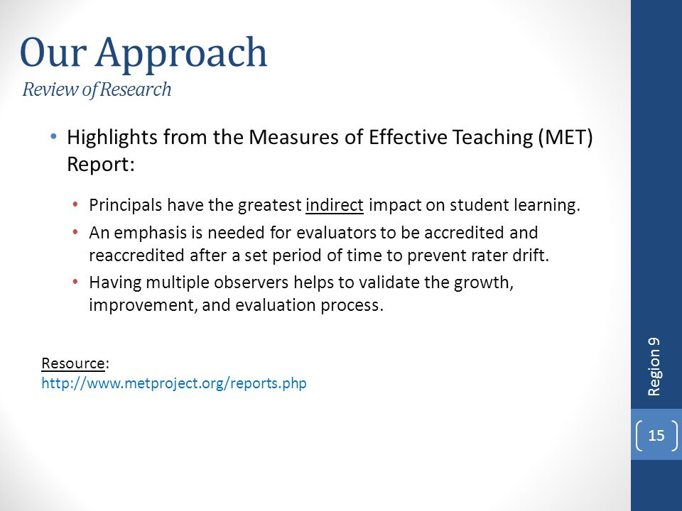Our Approach Review of Research Highlights from the Measures of Effective Teaching (MET) Report: Principals have the greatest indirect impact on stude