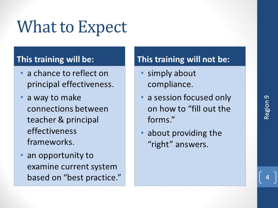 What to Expect This training will be: a chance to reflect on principal effectiveness. a way to make connections between teacher & principal effectiven