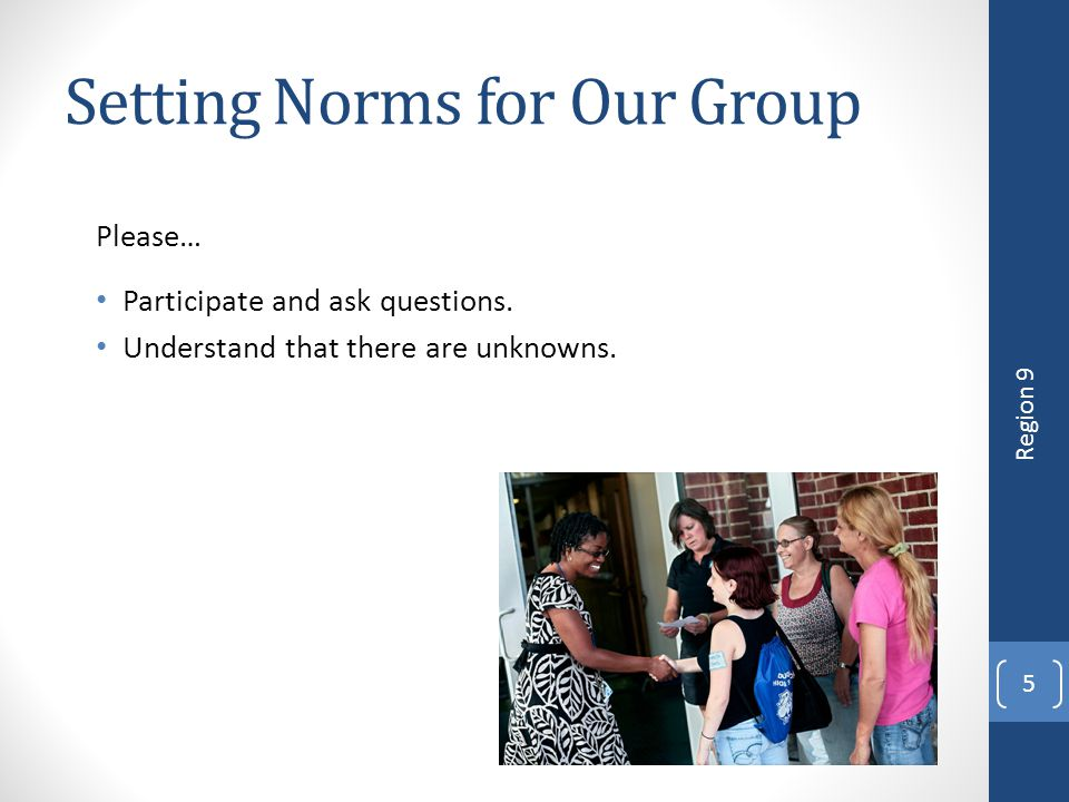Setting Norms for Our Group Please… Participate and ask questions. Understand that there are unknowns. 5 Region 9