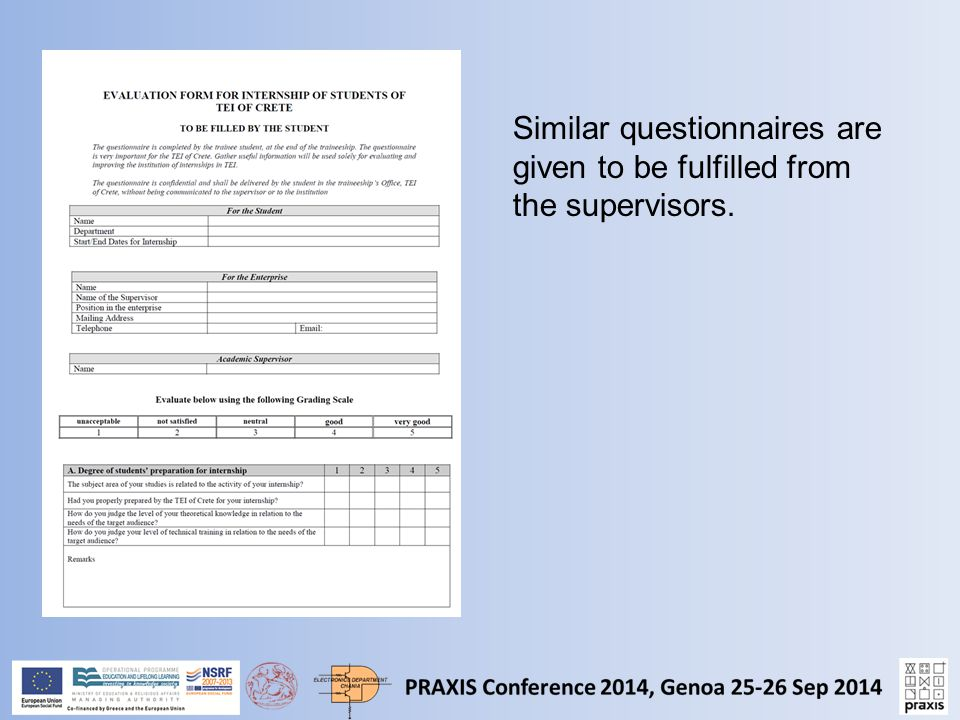 Similar questionnaires are given to be fulfilled from the supervisors.