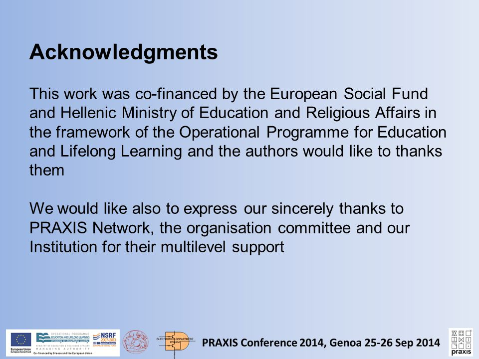 Acknowledgments This work was co-financed by the European Social Fund and Hellenic Ministry of Education and Religious Affairs in the framework of the Operational Programme for Education and Lifelong Learning and the authors would like to thanks them We would like also to express our sincerely thanks to PRAXIS Network, the organisation committee and our Institution for their multilevel support