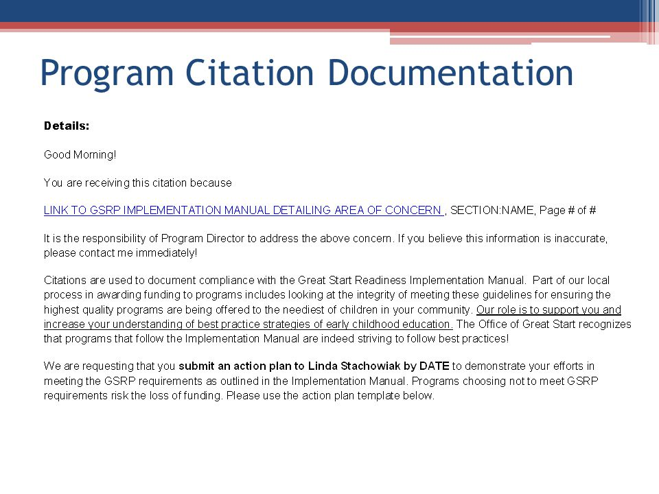 Program Citation Documentation