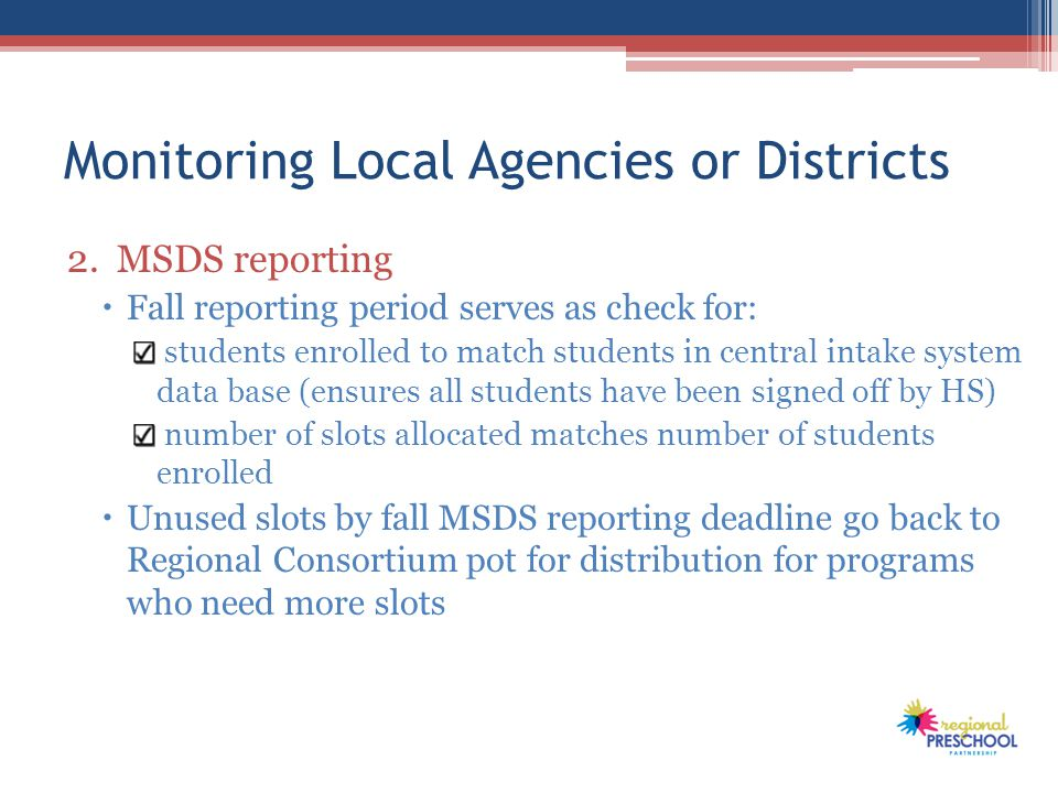 Monitoring Local Agencies or Districts 2.