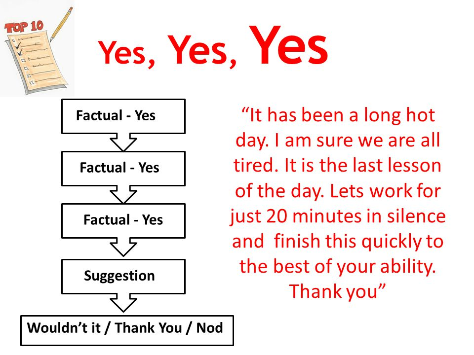 Yes, Yes, Yes Factual - Yes Suggestion Wouldn't it / Thank You / Nod It has been a long hot day.