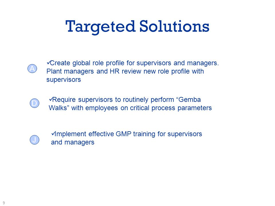 Targeted Solutions 9 Create global role profile for supervisors and managers.