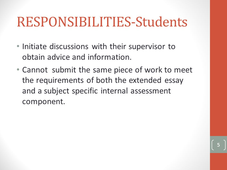 Students- Recommended: things to do before EE Before starting work on the extended essay, students should: read the assessment criteria read previous essays to identify strengths and possible pitfalls.