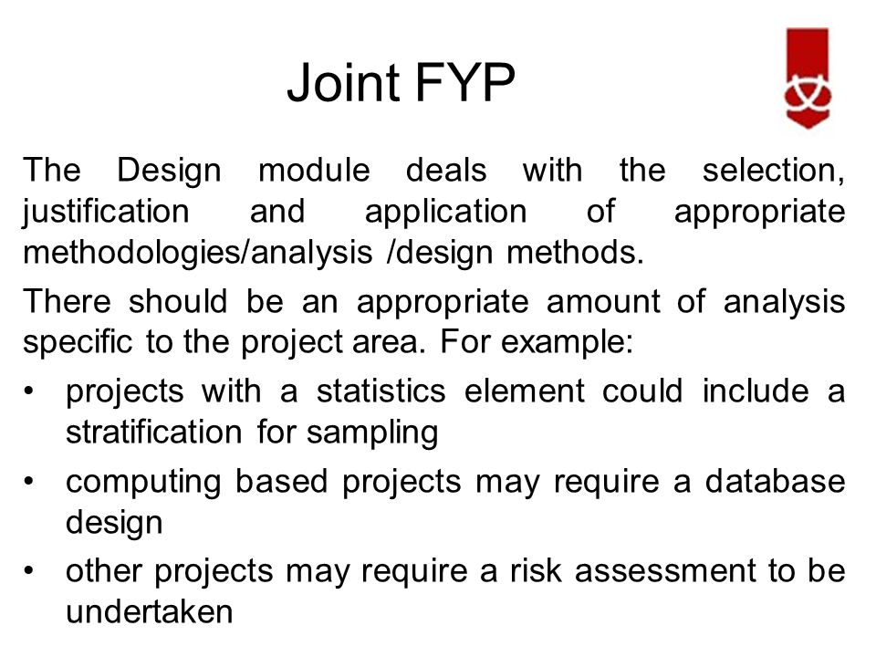 Joint FYP The Implementation module covers the implementation of the solution of the problem, as specified in the design & analysis phase.