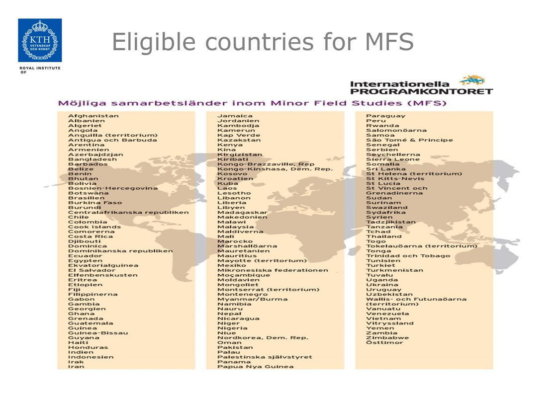 Eligible countries for MFS