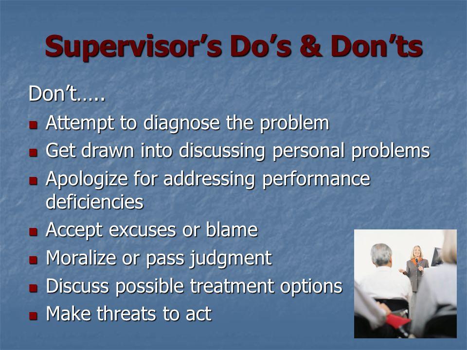 Supervisor's Do's & Don'ts Don't…..