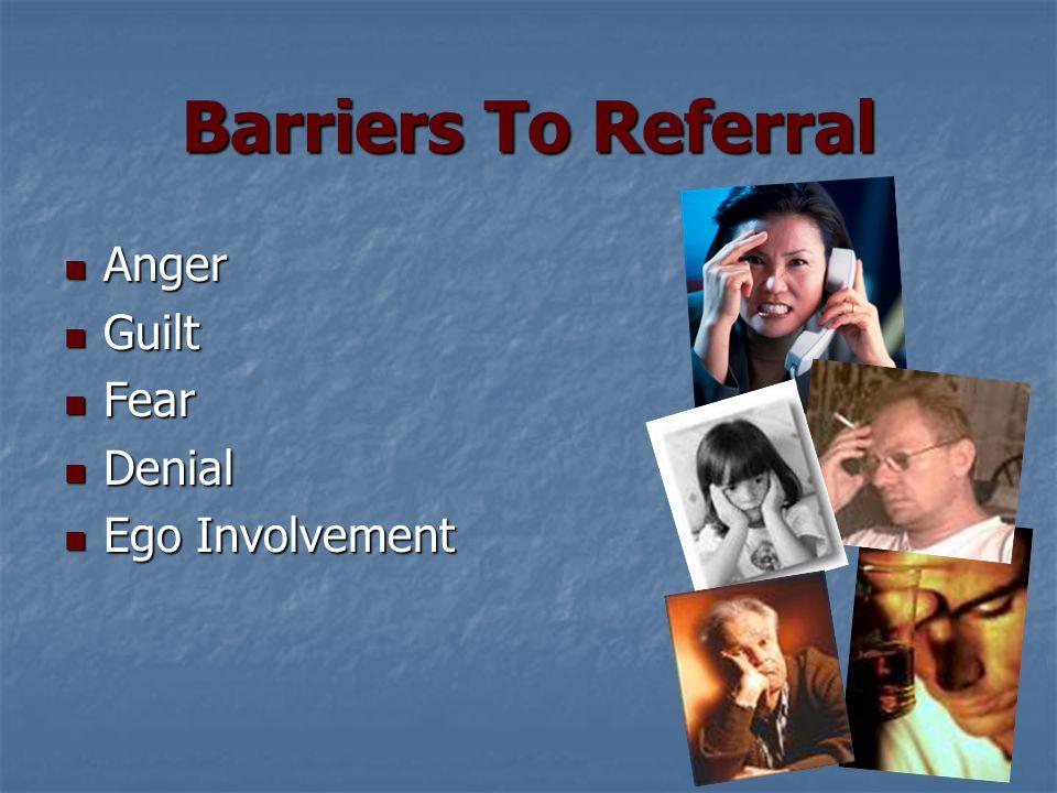 Barriers To Referral Anger Anger Guilt Guilt Fear Fear Denial Denial Ego Involvement Ego Involvement