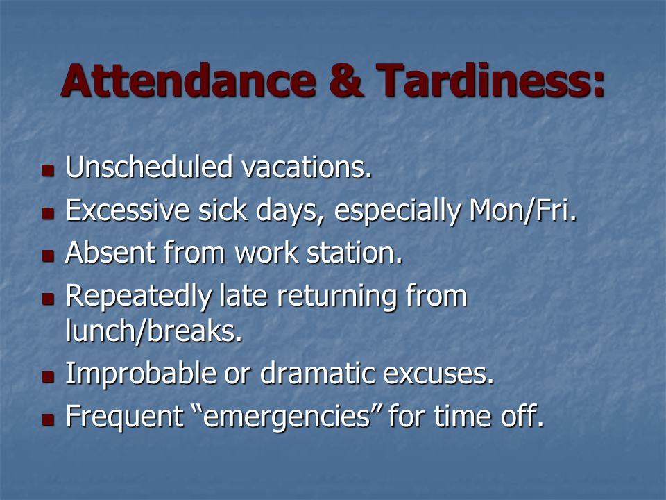 Attendance & Tardiness: Unscheduled vacations. Unscheduled vacations.
