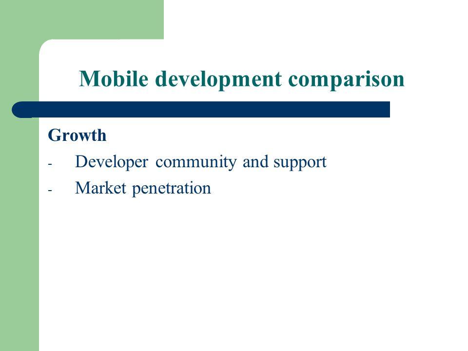 Mobile development comparison Growth - Developer community and support - Market penetration