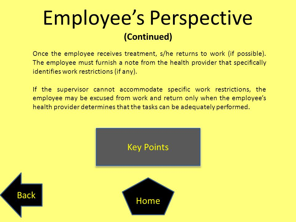 Employee's Perspective (Continued) Key Points Back Home Once the employee receives treatment, s/he returns to work (if possible). The employee must fu