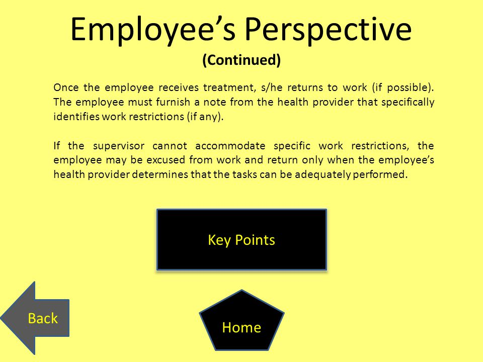 Employee's Perspective (Continued) Back Home Key Points Once the employee receives treatment, s/he returns to work (if possible).
