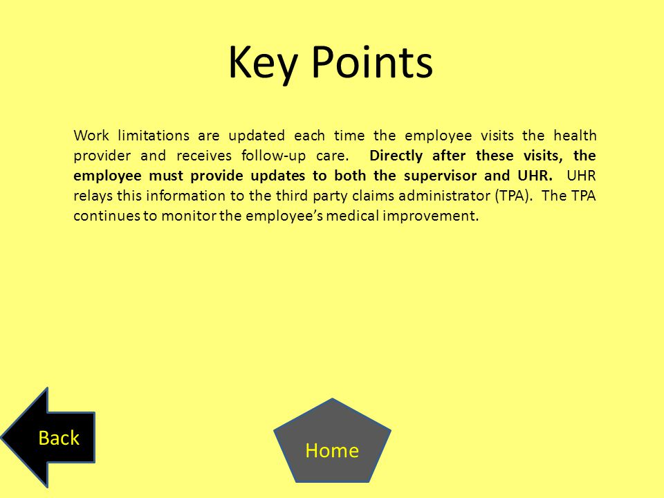Key Points Work limitations are updated each time the employee visits the health provider and receives follow-up care.
