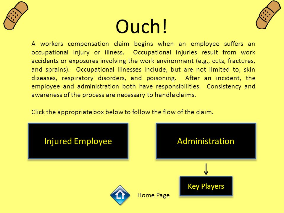 Ouch! A workers compensation claim begins when an employee suffers an occupational injury or illness. Occupational injuries result from work accidents
