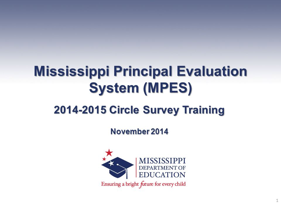 Mississippi Principal Evaluation System (MPES) 2014-2015 Circle Survey Training November 2014 1