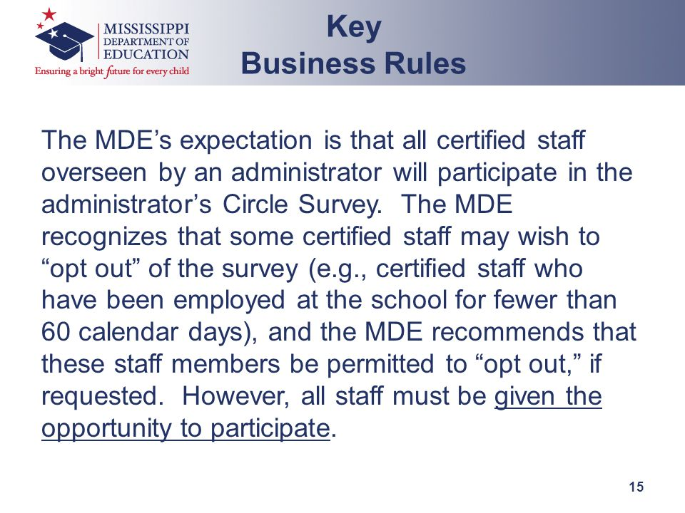 The MDE's expectation is that all certified staff overseen by an administrator will participate in the administrator's Circle Survey.