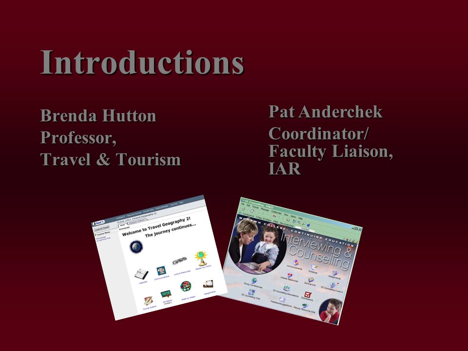 Introductions Brenda Hutton Professor, Travel & Tourism Pat Anderchek Coordinator/ Faculty Liaison, IAR Coordinator/ Faculty Liaison, IAR