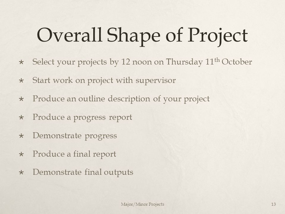 Overall Shape of Project  Select your projects by 12 noon on Thursday 11 th October  Start work on project with supervisor  Produce an outline desc