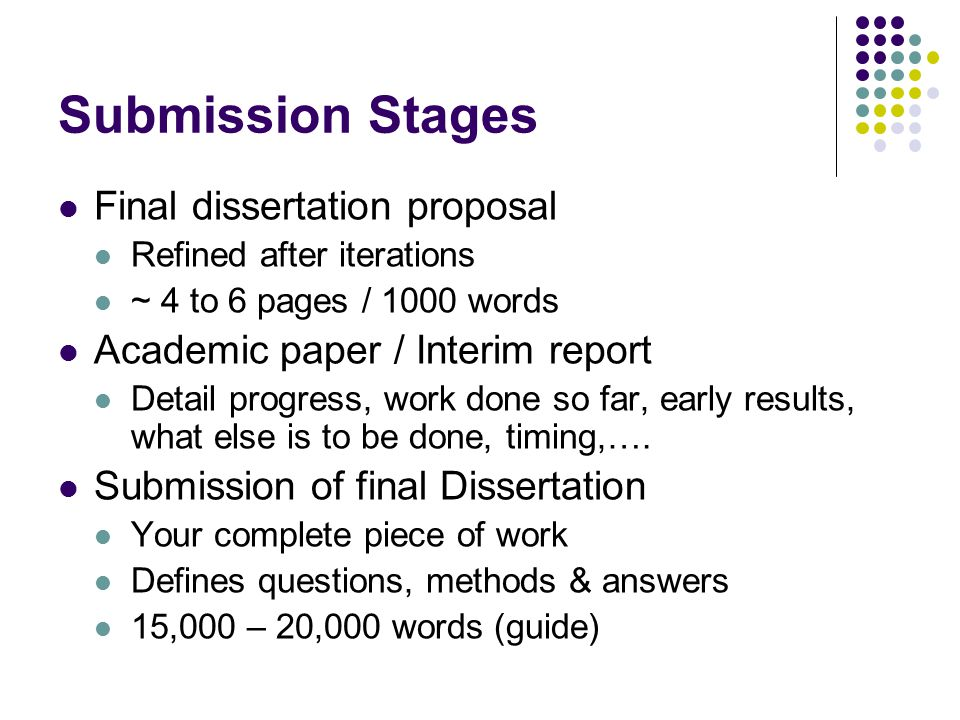 Submission Stages Final dissertation proposal Refined after iterations ~ 4 to 6 pages / 1000 words Academic paper / Interim report Detail progress, wo