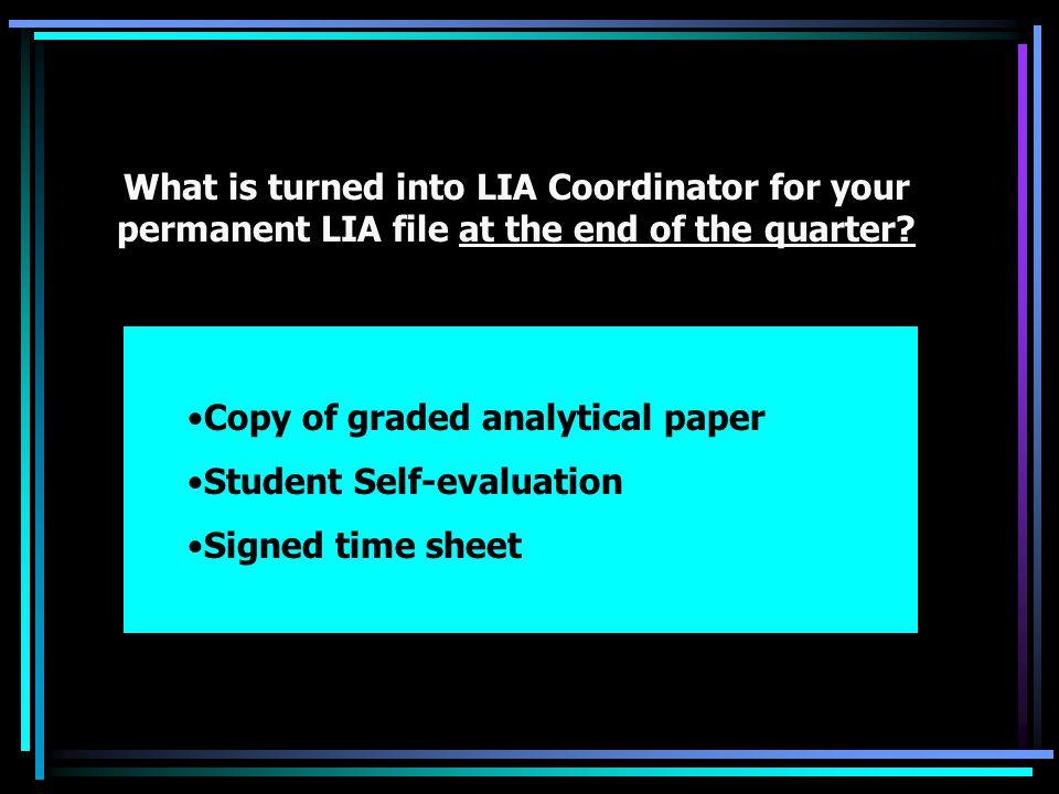 How do I finish up LIA and get a passing grade. 1.