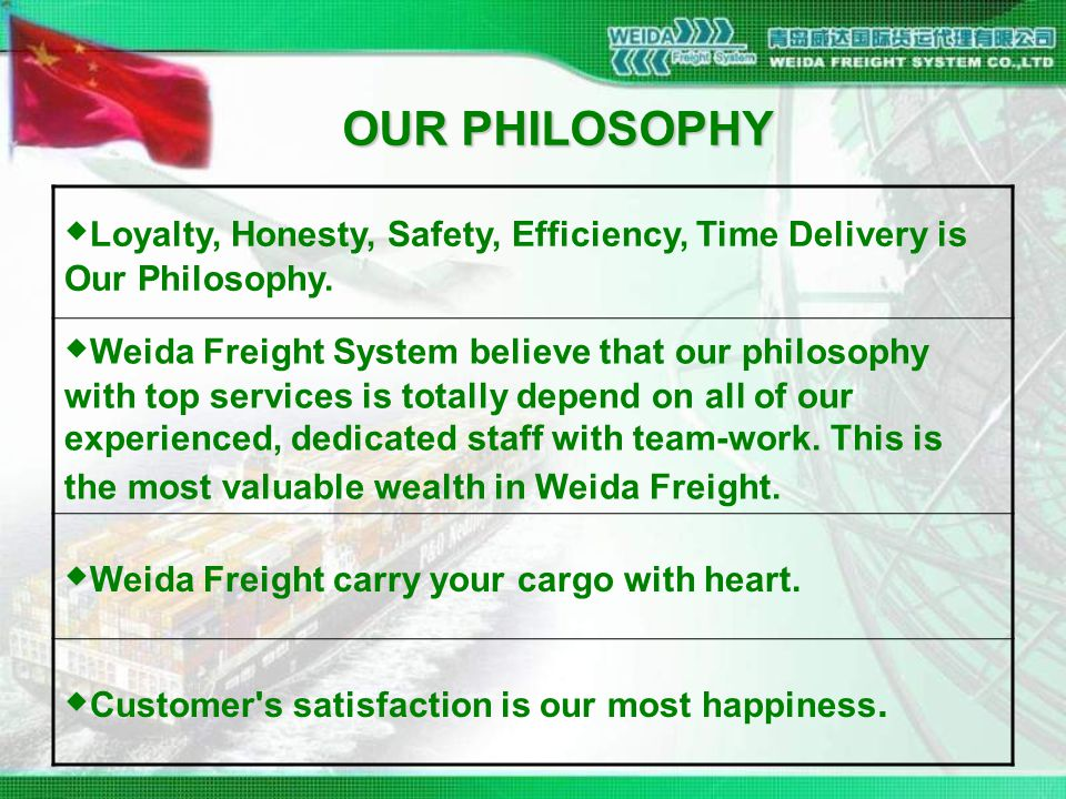 OUR PHILOSOPHY ◆ Loyalty, Honesty, Safety, Efficiency, Time Delivery is Our Philosophy.