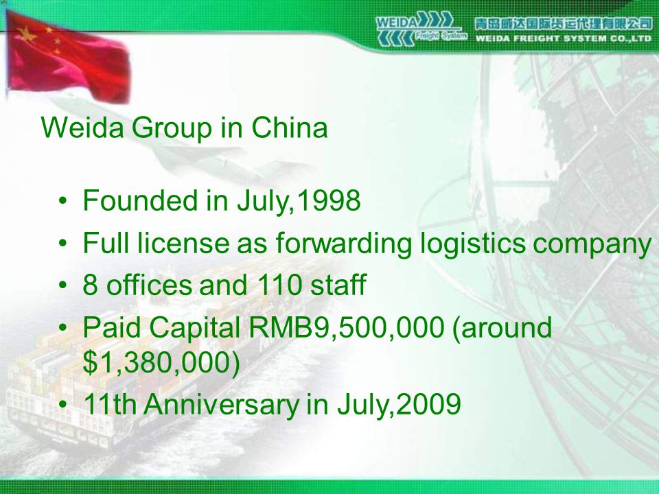Weida Group in China Founded in July,1998 Full license as forwarding logistics company 8 offices and 110 staff Paid Capital RMB9,500,000 (around $1,380,000) 11th Anniversary in July,2009