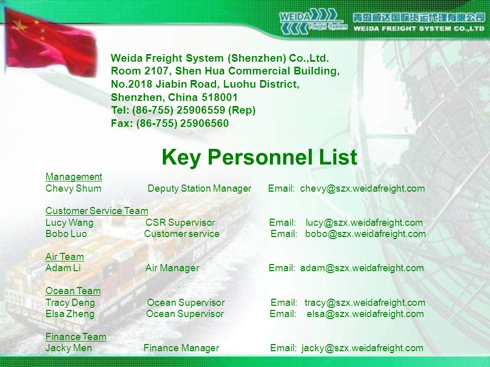 Key Personnel List Management Chevy Shum Deputy Station Manager Email: chevy@szx.weidafreight.com Customer Service Team Lucy Wang CSR Supervisor Email: lucy@szx.weidafreight.com Bobo Luo Customer service Email: bobo@szx.weidafreight.com Air Team Adam Li Air Manager Email: adam@szx.weidafreight.com Ocean Team Tracy Deng Ocean Supervisor Email: tracy@szx.weidafreight.com Elsa Zheng Ocean Supervisor Email: elsa@szx.weidafreight.com Finance Team Jacky Men Finance Manager Email: jacky@szx.weidafreight.com Weida Freight System (Shenzhen) Co.,Ltd.