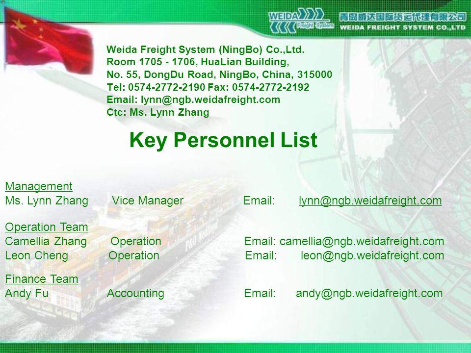 Weida Freight System (NingBo) Co.,Ltd. Room 1705 - 1706, HuaLian Building, No.