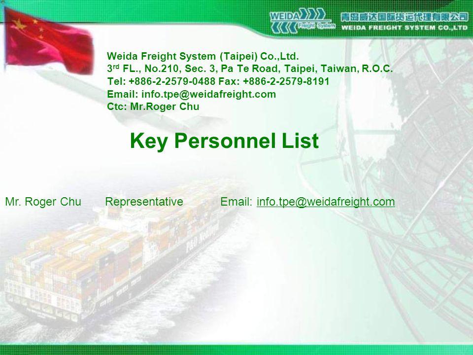 Weida Freight System (Taipei) Co.,Ltd. 3 rd FL., No.210, Sec.