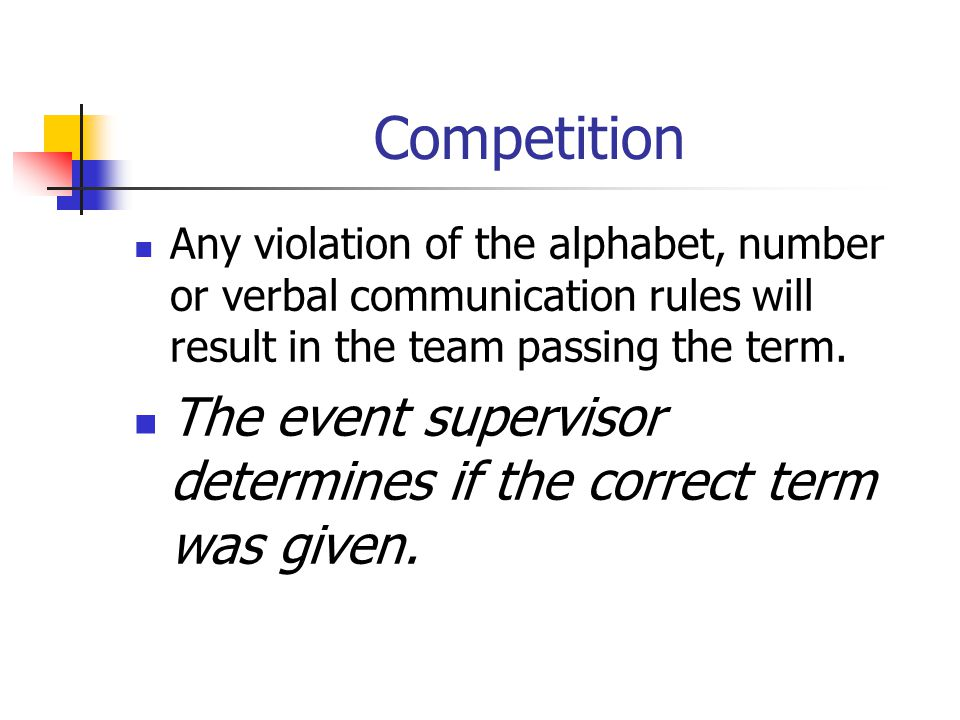 Competition Any violation of the alphabet, number or verbal communication rules will result in the team passing the term.