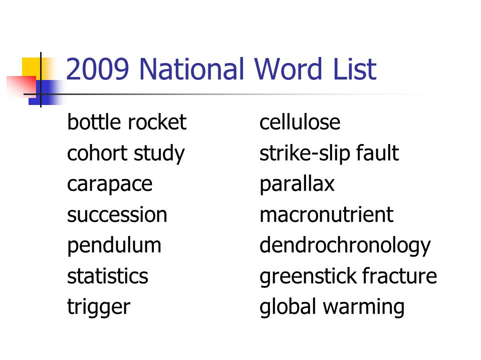 2009 National Word List bottle rocketcellulose cohort studystrike-slip fault carapaceparallax successionmacronutrient pendulumdendrochronology statisticsgreenstick fracture triggerglobal warming