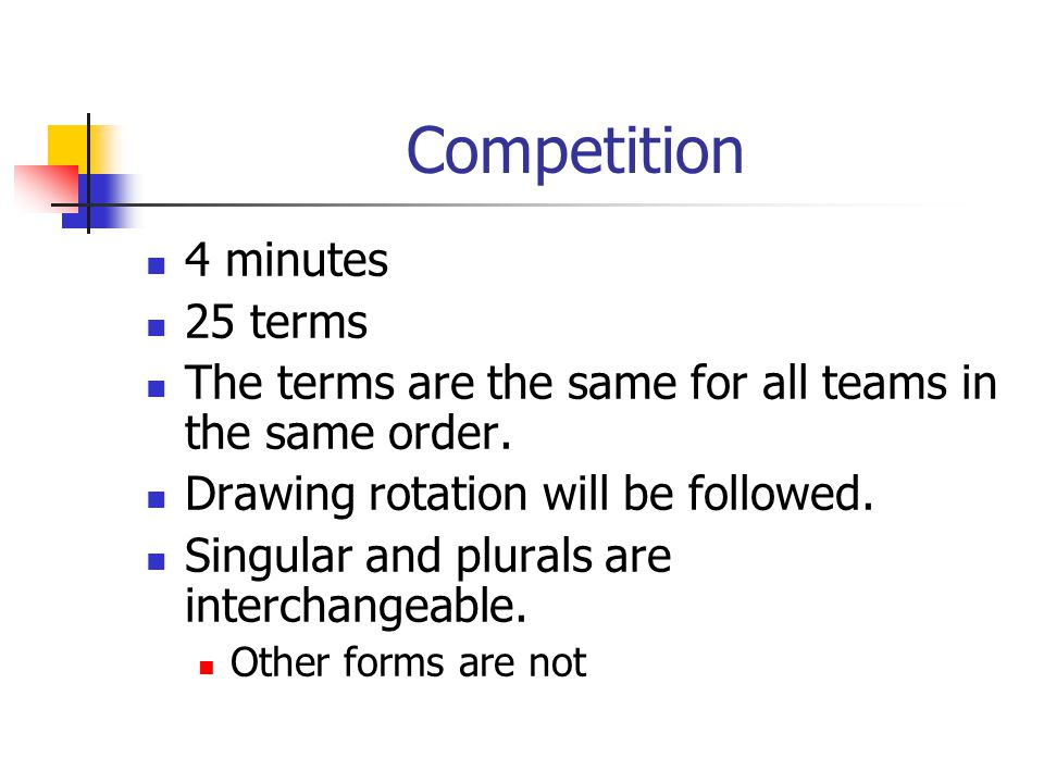 Competition Any team member may pass a term.