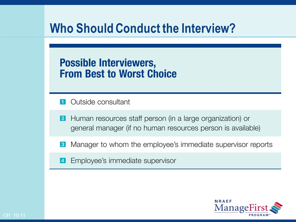OH 10-11 Who Should Conduct the Interview?